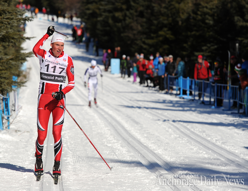 Finland's Aku Nikander (University of New Mexico) celebrates his win in the 50 k classic mass start at U.S. Distance Nationals on Friday in Anchorage, Alaska. He beat Noah Hoffman (SSCV/Team HomeGrown/USST) by 9 seconds after the two skied together for essentially the entire race. (Photo: Erik Hill/Anchorage Daily News)