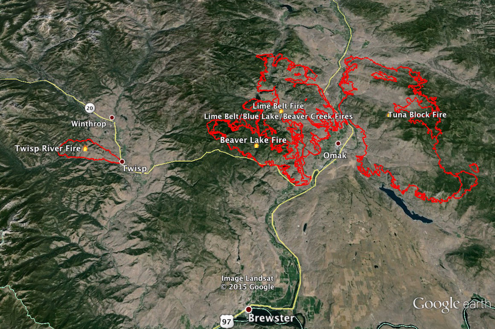 A map of the Okanogan Complex Fire (Photo: Jeremy Blazar/Overlays
