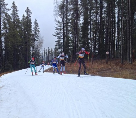 Brendan Green leads a group with Olexandr Zhrynyi (#4), Jack Carlyle, Soo Finish, #11), Bob Thompson (NDC TBay, #19) and Gareth Williams (Telemark, #1)