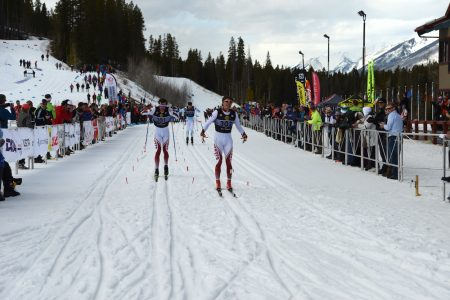 Denver U's Moritz Madlener powers through the slush to defeat roommate Dag Frode Trollebø with Canadian Champion Evan Palmer-Charrette in third. (Photo: W. James MacLean)