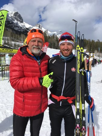 Nationals is a club event. In the 50 k, the first and last finishers were both Ptarmigan Nordic members. Phil Meagher and Graeme Killick are all smiles afterwards (Photo: Gerry Furseth)