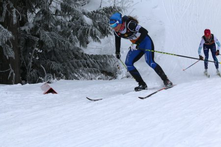 CNEPH's Sophie Carrier-Laforte charging the downhill on her way to third place. (Photo: Kai Syminton-Kruss)