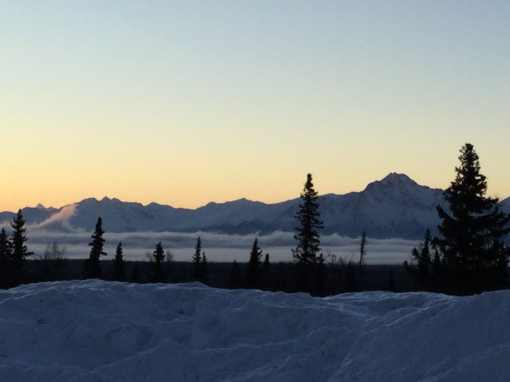 The Chugach Mountains and a winter sunrise, seen in this file photo view from the parking lot at Government Peak Recreation Area, Palmer, Alaska, in February 2018. (photo: Gavin Kentch)