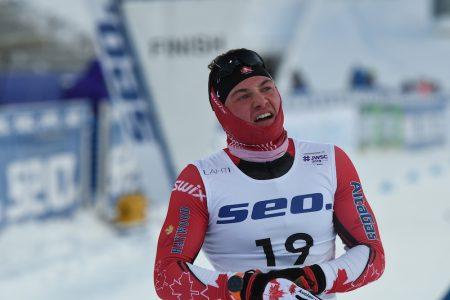 Graham Ritchie at the finish of his quarter final in Lahti. (Photo: Doug Stephen)