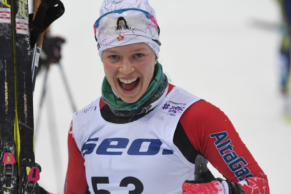 Hannah Mehain at the finish of the U23 15km classic in Lahti. (Photo: Doug Stephen)