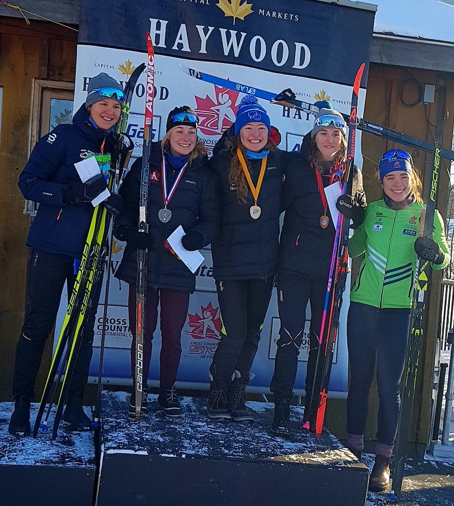 2019 Easterns classic sprint podium (L to R): Katie Weaver (5th), Laura Leclair (2nd), Zoë Williams (1st), Mia Serratore (3rd), Annika Richardson (4th). (Photo: Marten Burns)