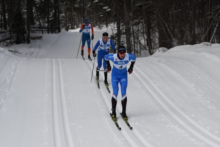 Julien Locke leads Rémi Drolet and Sam Hendry in Saturday's mass start classic. The relay used the same 5km loop. (Photo: Doug Stephen)