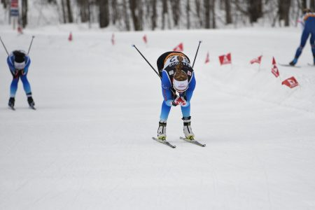 Dahria Beatty leads Emily Nishikawa towards the finish. (Photo: Doug Stephen)