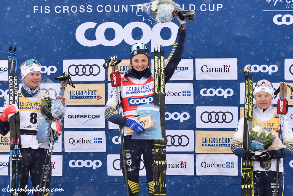 The women's sprint podium. L to R, Maja Dahlqvist, Stina Nilsson, Jonna Sundling. (Photo: John Lazenby)