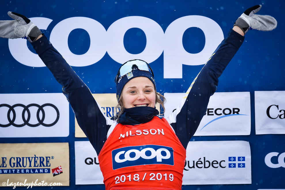 Stina Nilsson celebrating her sprint win. (Photo: John Lazenby)