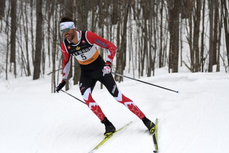 Lenny Valjas blasting down to a national title in the 10km classic. (Photo: Doug Stephen)