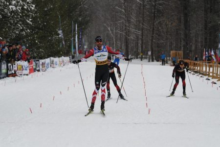 Lenny Valjas wins the pursuit, ahead of Phillipe Boucher, Alexis Dumas, and Rémi Drolet. (Photo: Doug Stephen)