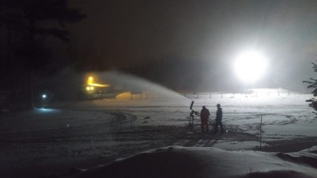 Testing the snowmaking equipment in November 2016. (Courtesy photo)