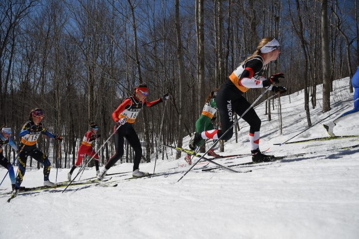 The lead group in the 30km. Alannah Maclean (#152 on the left) would break away later. (Photo: Doug Stephen)