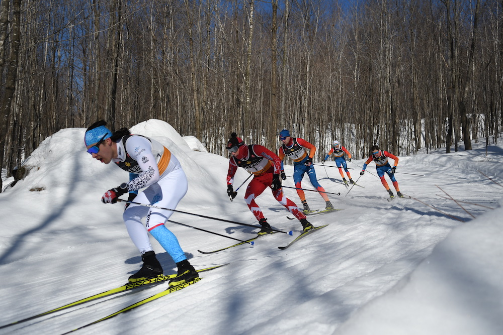 Ryan Jackson leads Andy Shields, Dominique Moncion-Groulx, Sam Hendry, and Ty Godfrey in the 50km. (Photo: Doug Stephen)