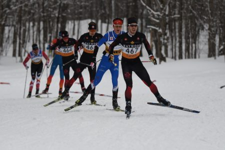 Philippe Boucher leading Rémi Drolet, Alexis Dumas, Antoine Cyr, Evan Palmer-Charrette, and Lenny Valjas in the pursuit. (Photo: Doug Stephen)