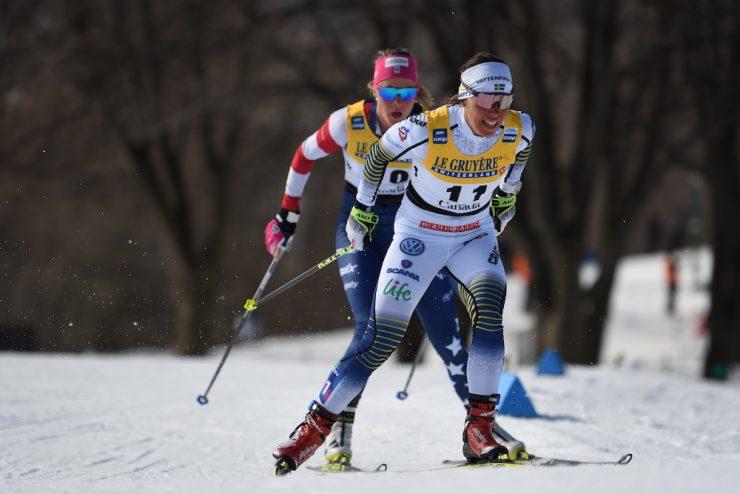 Charlotte Kalla leads Sadie Bjornsen in the pursuit. (Photo: Doug Stephen)