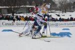 Québec City sprint crash, 6 of 7. Charlotte Kalla down on Sadie Bjornsen and Jessie Diggins skis. (Photo: Doug Stephen)