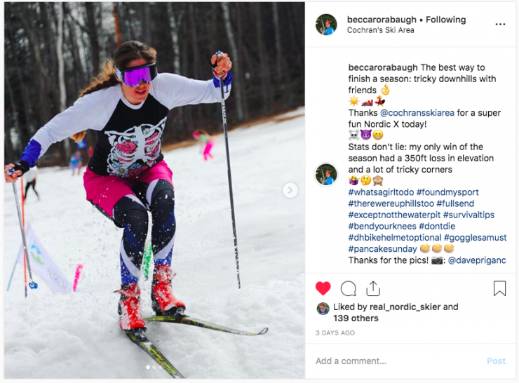 Becca Rorabaugh (APU) races in a season-ending ski cross race at Cochran's Ski Area, Richmond, Vt., in April 2019. (photo: Becca Rorabaugh Instagram screenshot / https://www.instagram.com/p/Bv-aVpyHrJ7/)