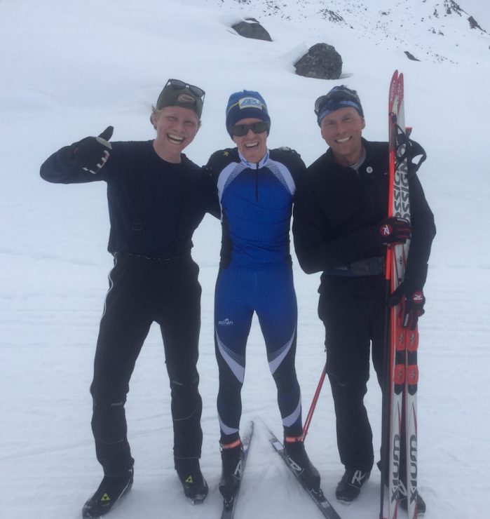 Men's podium for the 2018 Race to the Outhouse #2: Gavin Kentch (c), Jeff Kase (r), and Noah Hanestad (l), Archangel Road, Talkeetna Mountains, Alaska, in April 2018. (photo: courtesy Gavin Kentch)