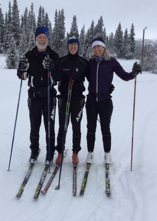 From left, APU skiers John Wood, Gavin Kentch, and Shannon Brockman on the course at World Masters in Beitostølen, Norway, March 2019. (photo: courtesy John Wood)
