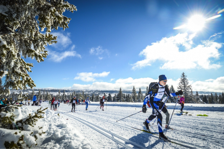 APU skier John Wood (right foreground) roughly midway through the Norwegian Birkebeiner, March 2019. (courtesy photo)
