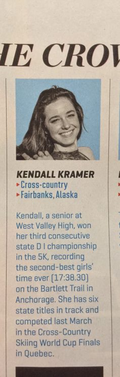 """Kendall Kramer is featured in the """"Faces in the Crowd"""" section of the Oct. 21-28, 2019, issue of Sports Illustrated."""