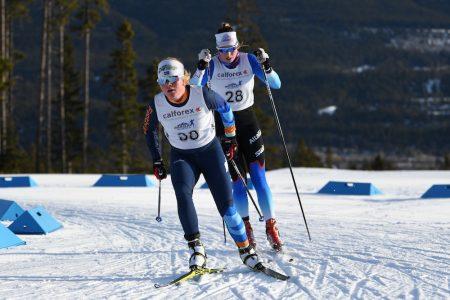 Fastest junior Isabel Hendry leads Maya MacIsaac-Jones in the 8km free. (Photo: Doug Stephen)
