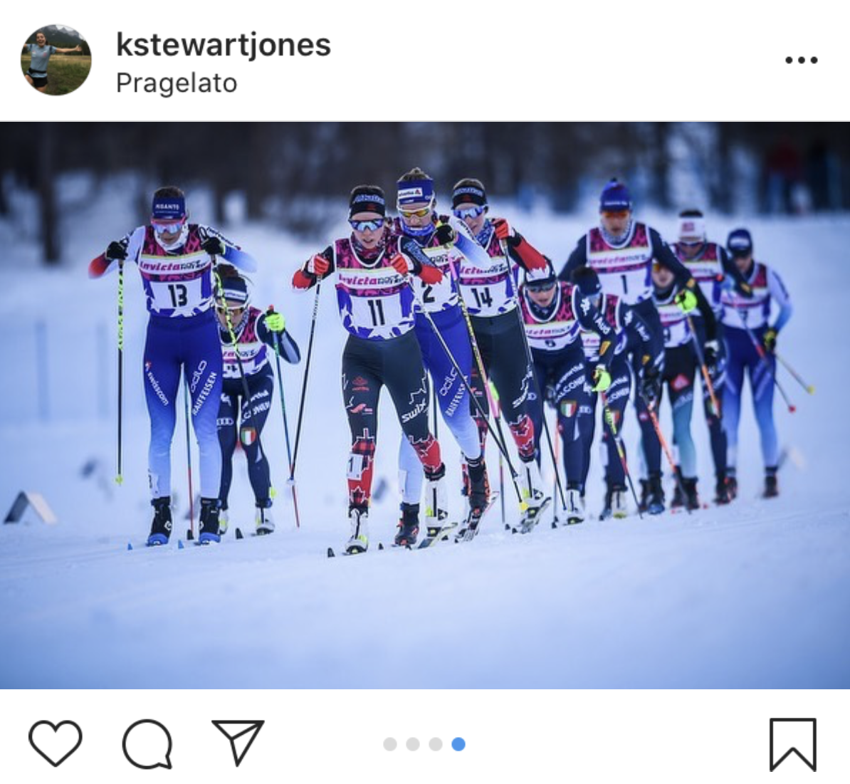 Katherine Stewart-Jones leads the mass start on the way to a Canadian 1-2 at the OPA Cup in Pragelato, Italy. (Photo: Athlete Instagram, credited to @damianobenedettophoto)