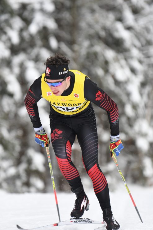 Antoine Cyr rocking the NorAm leader's bib on the way to victory. (Photo: Doug Stephen)