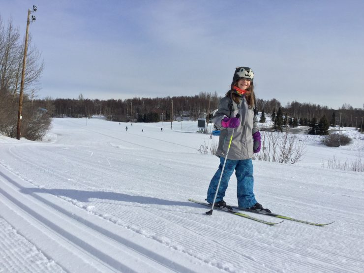 Bridget Kentch, age 7, skis at Kincaid Park in Anchorage, Alaska, on April 8, 2020, while staying far away from everyone else save her immediate family. (photo: Gavin Kentch)