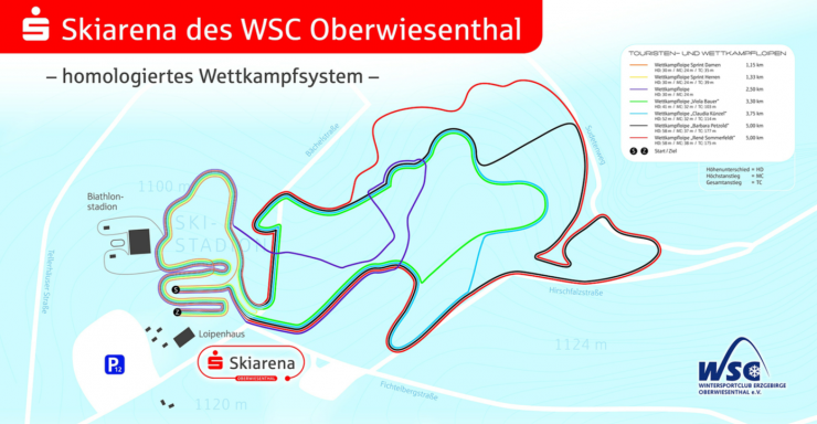 General map of homologated courses available for 2020 World Juniors. This is a generic map taken from the website of the local ski club, and is not intended to represent what coaches or athletes were shown at World Juniors. (Screenshot from https://www.wsc-erzgebirge.de/fileadmin/user_upload/loipen.pdf)