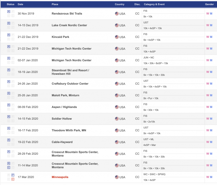 2020 American FIS races. (photo: screenshot from FIS site) https://www.fis-ski.com/DB/cross-country/calendar-results.html?eventselection=&place=&sectorcode=CC&seasoncode=2020&categorycode=&disciplinecode=&gendercode=&racedate=&racecodex=&nationcode=usa&seasonmonth=X-2020&saveselection=-1&seasonselection=