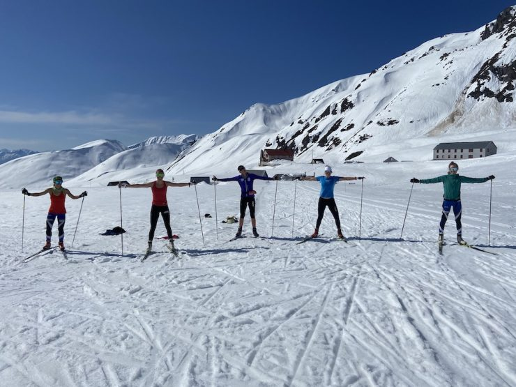 From left, APU athletes Rosie Frankowski, Sadie Bjornsen, Hailey Swirbul, Becca Rorabaugh, and Caroline Brisbois maintain a healthy distance while skiing at Hatcher Pass on May 13, 2020. (photo credit: ?)