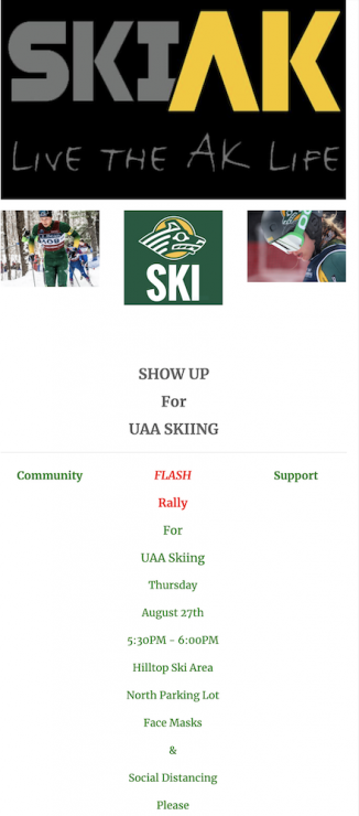 Flyer for local rally in support of UAA Ski Team. (photo: screenshot from SkiAK email)