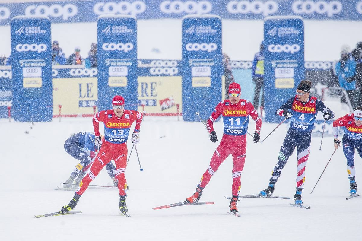 01.01.2021 Val Mustair, Switzerland (SUI):<br /> Kevin Bolger (USA), Gleb Retivykh (RUS), Evgeniy Belov (RUS), Simeon Hamilton (USA), (l-r) - FIS world cup cross-country, tour de ski, individual sprint, Val Mustair (SUI). www.nordicfocus.com. © Modica/NordicFocus. Every downloaded picture is fee-liable.