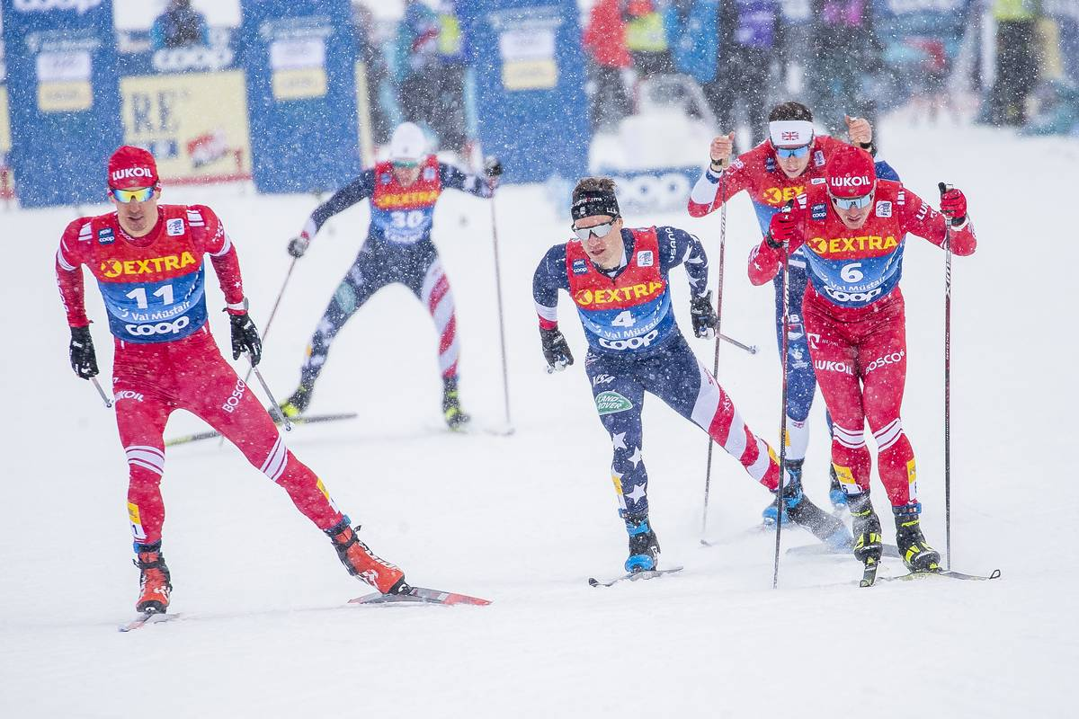 01.01.2021 Val Mustair, Switzerland (SUI):<br /> Evgeniy Belov (RUS), Simeon Hamilton (USA), Andrew Musgrave (GBR), Andrey Melnichenko (RUS), (l-r) - FIS world cup cross-country, tour de ski, individual sprint, Val Mustair (SUI). www.nordicfocus.com. © Modica/NordicFocus. Every downloaded picture is fee-liable.